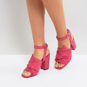 Park Lane Oversized Knot Front Heel Sandals at asos.com