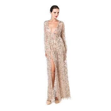 Sexy  long sleeve deep V  two split sequin maxi no lining dress