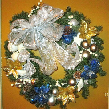 Blue Wreath Holiday Wreath Bow Christmas Wreath Bow Pine Wreath Holiday Decor, pine cones, berries seasonal wreath under 100