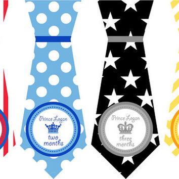 Precut 12 Onepiece Tie Stickers Crowns Prince Monthly Stickers Baby Age Stickers Baby Boy Necktie Infant month stickers Baby Sticker