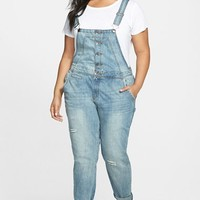 Plus Size Women's City Chic Button Front Distressed Overalls