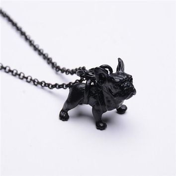 Fashion 2 Colors Cute French Bulldog dog pendant Necklace For Women Fit Lovers Christmas Gift