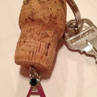 Champagne Cork Keychain Letter A Initial with Green Charm