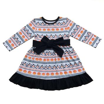 Halloween costume holiday baby girl Pumpkin long sleeve cotton dress Children boutique clothing