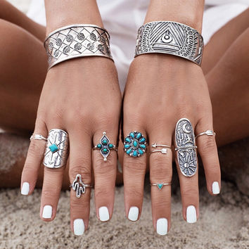 Beach Cactus Boho Ring Set
