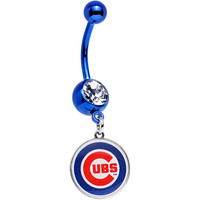 Licensed MLB Clear Gem Blue Anodized Chicago Cubs Dangle Belly Ring