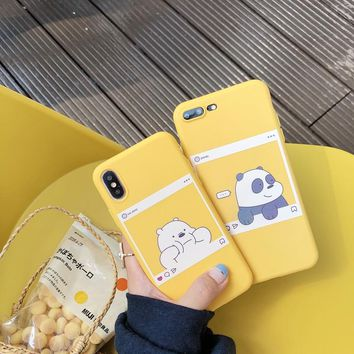 Fashion cute We Bare Bears brothers Cartoon candy soft tpu phone case for iphone 6 6s plus X 7 8 plus XR XS MAX cover fundas