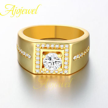 Ajojewel brand luxury CZ diamond square designs engagement wedding gold men ring 2016 with zircon stone (US size 8 9 10)