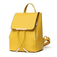 women fashion PU backpacks tassel hasp preppy style shoulder bags girls candy solid color cute backpack Yellow