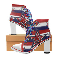 Tricolor Stars Stripes Women's Lace Up Chunky Heel Ankle Booties (Model 054) | ID: D2317208