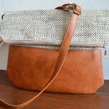 Medium Crossbody Bag, Foldover Bag, Crossbody Purse Vegan Leather and Upholstery Fabric