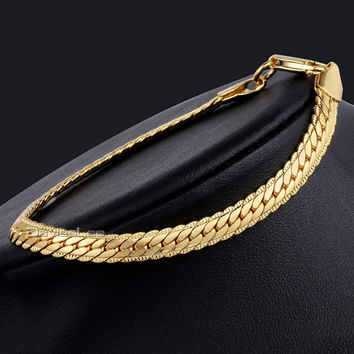 Davieslee Womens Mens Chain Boys Girls Snake Chain Hammered Close Curb Link 3 Colors Gold Filled Bracelet 6mm 21cm DLGB390-392