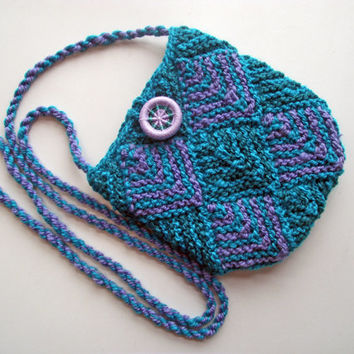 Knitted Crossbody Bag, Lined Knit Purse, Dorset Button, Artisan Merino Handspun Knitted Bag, Lined Boho, Turquoise Lilac Purse, Knit Pouch