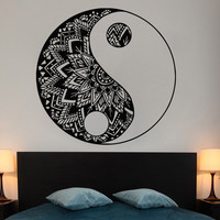 Wall Decal Mandala Stickers Yin Yang Yoga  Vinyl Bedroom Decor Bohemian Boho SM9