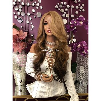 Blonde Brown Ombre Swiss Lace Front Wig 24"