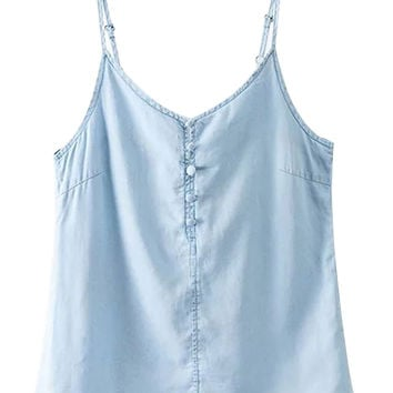 Blue V-neck Tie Back Cami Top