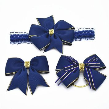 The navy color Aureate bowknot hair ribbon bow clip suit and wear elastic band hair band skinny stretchy Bowknot elastic  Set of