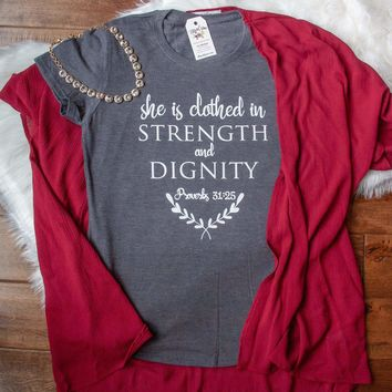 She is Clothed in Strength and Dignity Classic Short Sleeve Shirt
