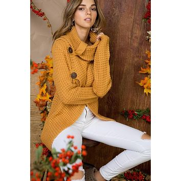 Crisp Fall Air Cowl Neck Sweater - Camel