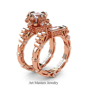 Art Masters Caravaggio 14K Rose Gold 1.5 Ct Princess White Sapphire Diamond Engagement Ring Wedding Band Set R627S-14KRGDWS