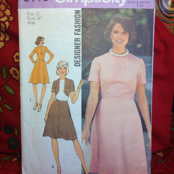 Designer Fashion Dress Pattern Simplicity 6145 Cut and Complete- Vintage 1970's