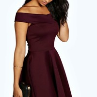 Tamsin Off The Shoulder Skater Dress | Boohoo