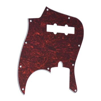4Ply PVC JB Style Bass Pickguard Pick Guard Scratch Plate 10 Hole for American/Mexico Made Standard Jazz Bass Tortoise Shell Red