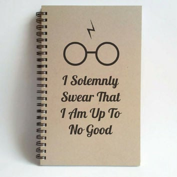 I solemnly swear that I am up to no good, 5X8 Journal, spiral notebook brown kraft notebook white journal harry potter gift diary sketchbook