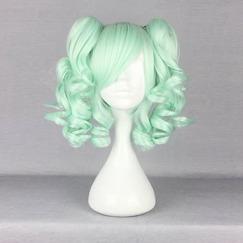 Harajuku Green Bunches Wavy Costume Cosplay Wig Synthetic High Temperature Heat Friendly