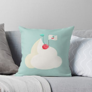'Cherry on top (of the whipped cream mountain)' Throw Pillow by EuGeniaArt