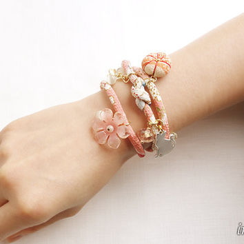 Kimono Bracelet, Necklace Japanese chirimen jewelry, Sweet cherry blossom blue pale pink - HANA MORI -
