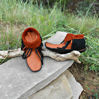 Handmade Fringe Moccasins, Inca Style Mocc, Elk Hide Moccs, Native American, Hand Sewn, Natural Earthing Shoe, Mountain Man, Rendezvous