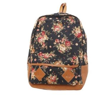fancasen Black Color Vintage Cute Flower Pattern School Bag Book Campus Bag Backpack