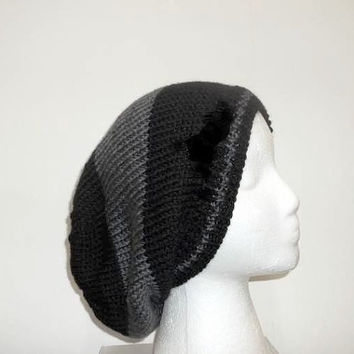Slouch hat beanie black and dark gray wide stripes   5287