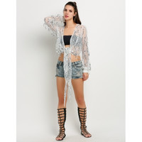 Fashion Women Long Sleeve Open Front Sequins See Through Cover Up Tops