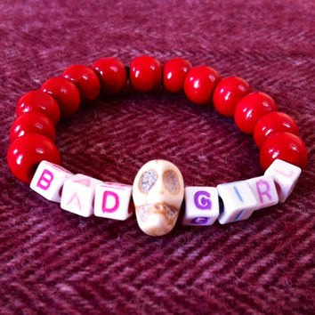 SALE Bad Girl, wooden bead bracelet. LGBT themed. Skull beads. Lesbian, Bisexual or Pan. Party girl. Rebel girl. Anarchy.