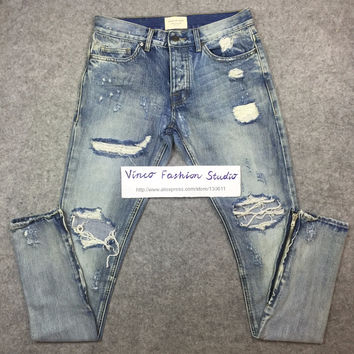 Best version fear of god FOG men Selvedge zipper destroyed skinny slim fit justin bieber Vintage ripped blue denim jeans