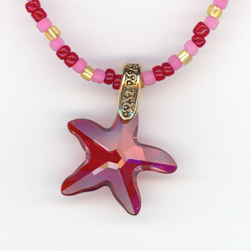 Red Crystal Star Pendant with Red Pink Yellow Bead by Lehane