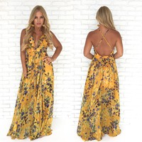 At Dusk Floral Maxi Dress in Mustard