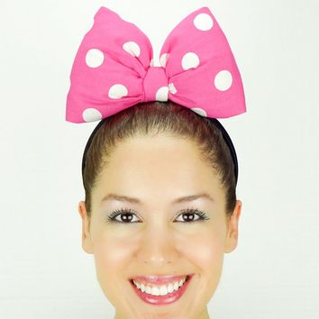 Big Minnie Mouse Bow Headband - Classic Pink Polkadots