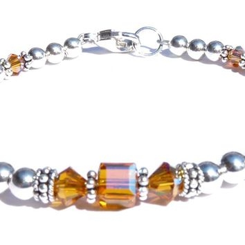 Solid Sterling Silver November Birthstone Bracelets in Simulated Yellow Topaz Swarovski Crystals
