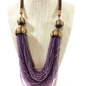 Miriam Haskell Amethyst Seed Bead Necklace, Huge Torsade Necklace, Braided Satin Cord & Gold Floral Motifs, Signed, 1960s, Vintage Jewelry