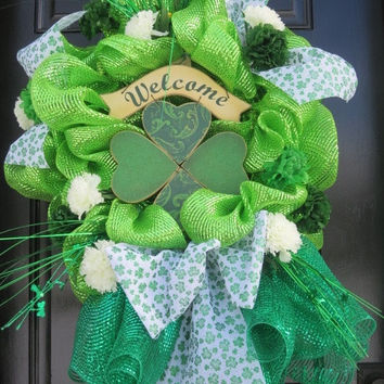 St. Patrick's Day Wreath, St. Patrick's Wreath, St. Patrick's Day Door Wreath, deco mesh wreath, Welcome Wreath, Spring Wreath, Door Wreath