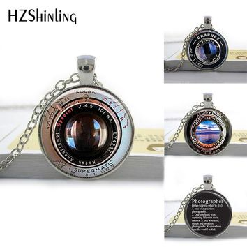 HZShinling Glass Photo Pendant Necklace Cabochon Camera Lens Necklace Photographer Gift Glass Round Necklaces Fashion Jewelry