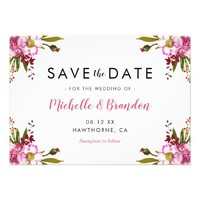 Elegant Summer Pink Floral Wedding Save the Date Card