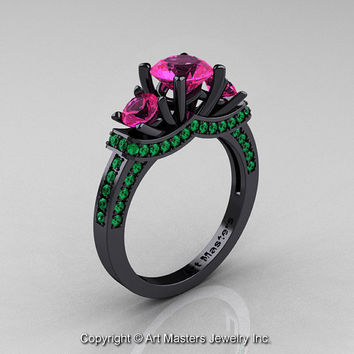French 14K Black Gold Three Stone Pink Sapphire Emerald Wedding Ring, Engagement Ring R182-14KBGEMPS