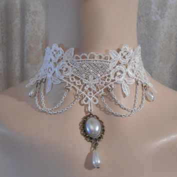 White Lace and Pearl Necklace Adjustable Lolita Goth Romantic Wedding Hollowed out Lace Filigree Lace Cut out Lace Boho Shabby Chic Jewelry