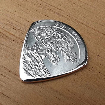Premium Coin Guitar Pick - Handmade with a 2013 Great Basin Quarter
