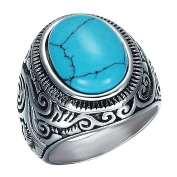 Retro Natural Black Blue Turquoises Rings Men Vintage Stainless Steel Titanium Ring Male Ring Jewelry