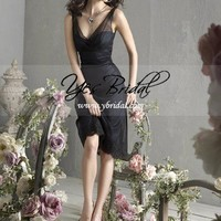 A-line V-neck Knee-Length Satin Lace Bridesmaid Evening Dress